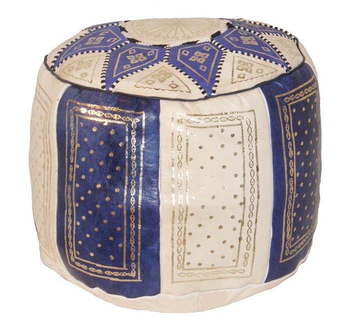 Riad Leather Pouf, Cream/Indigo