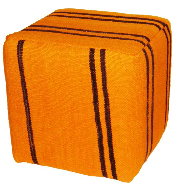 Pensey Kilim Pouf, Orange/Black