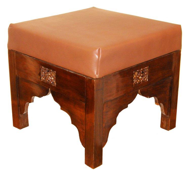 Benson Leather Ottoman, Brown/Walnut
