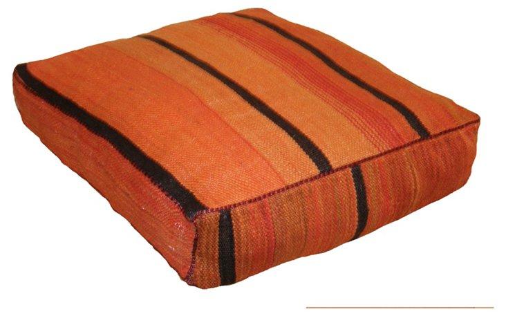 Moroccan Floor Pillow, Orange/Black