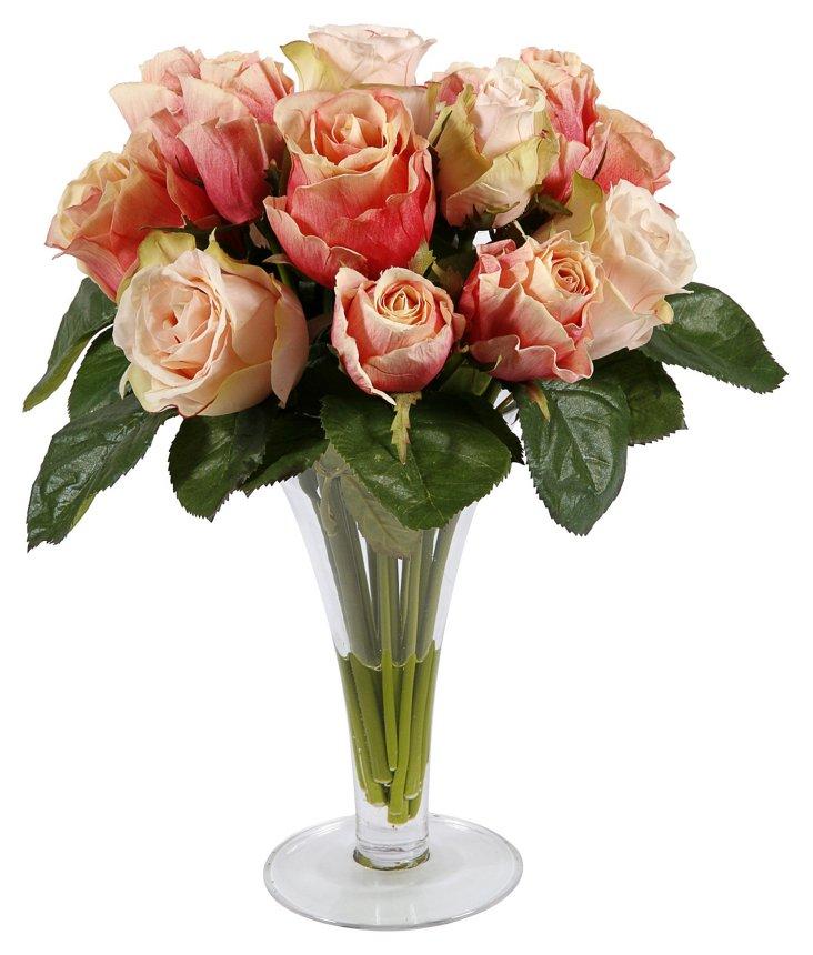 "14"" Roses in Vase, Faux"