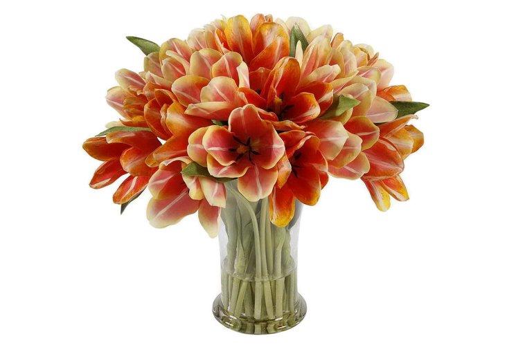 """19"""" Tulip in Glass Vase, Faux"""