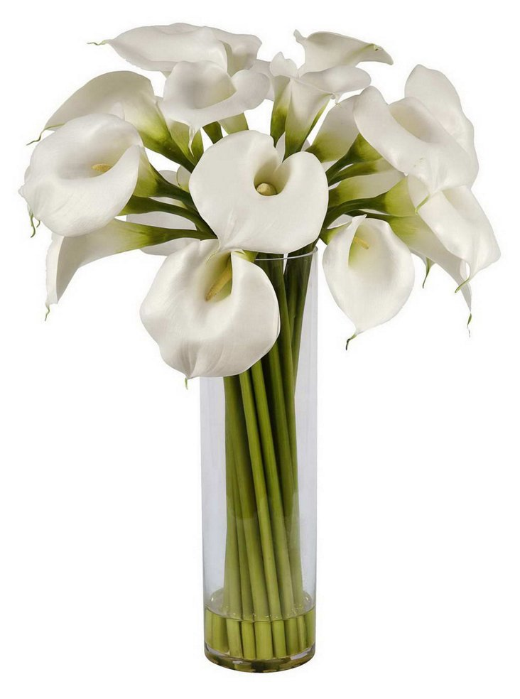 """32"""" Calla Lilies in Glass Vase, Faux"""