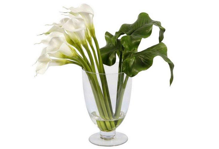Calla Lilies in Glass Vase, Medium