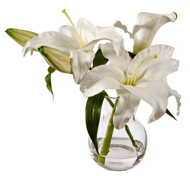 "12"" Casablanca Lily in Glass Vase, Faux"