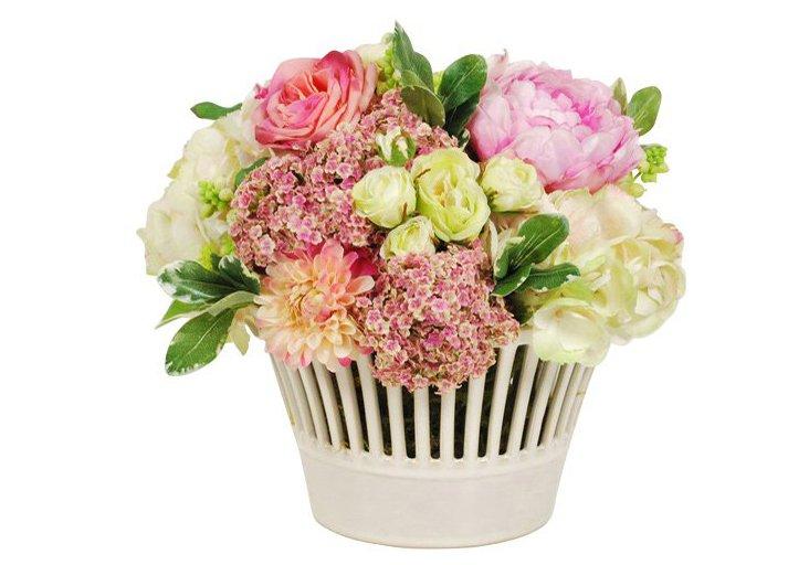 """13"""" Rose & Hydrangea in Planter, Faux"""
