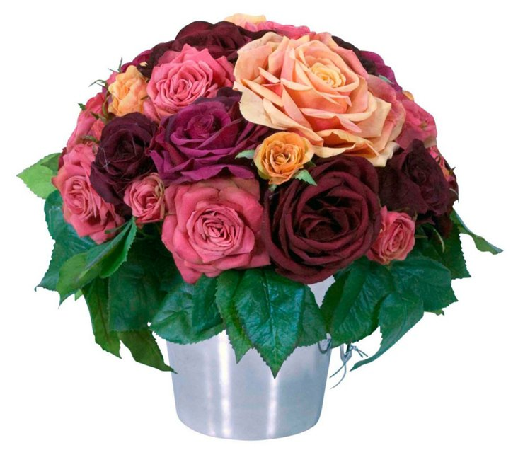 """12"""" Rose Ice Bucket, Red"""