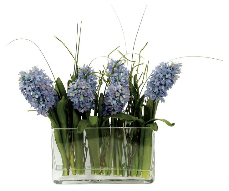 """18"""" Hyacinth in Glass Planter, Faux"""