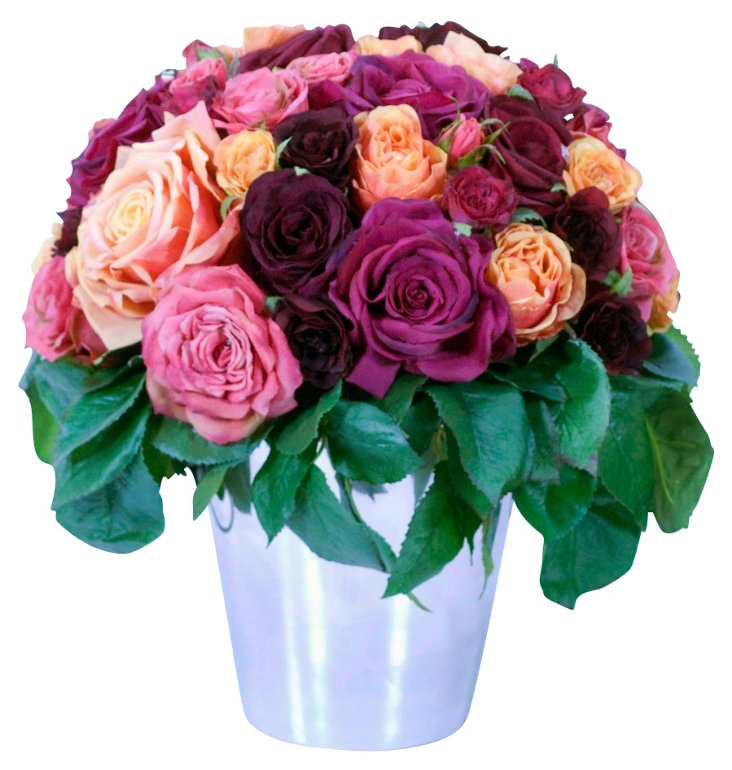 """15"""" Roses in Ice Bucket, Faux"""