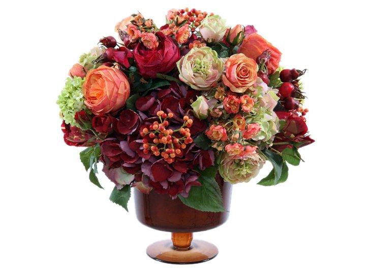 """17"""" Roses Arrangement, Faux"""