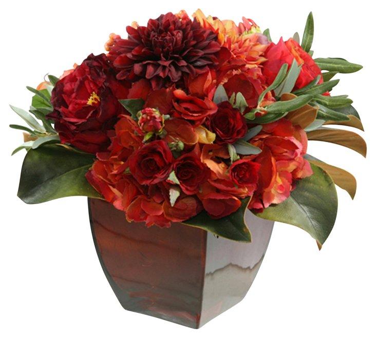 "14"" Bouquet in Glass Vase, Faux"