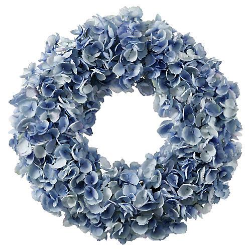 """24"""" Hydrangea Wreath, Faux"""