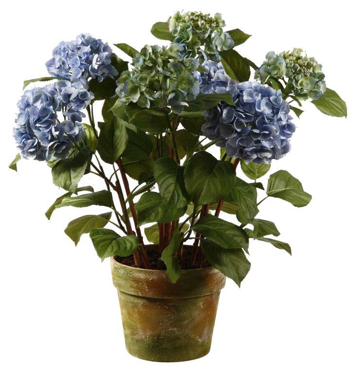 """34"""" Hydrangea in Planter, Faux"""
