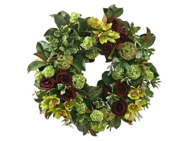 "30"" Rose & Hydrangea Wreath"