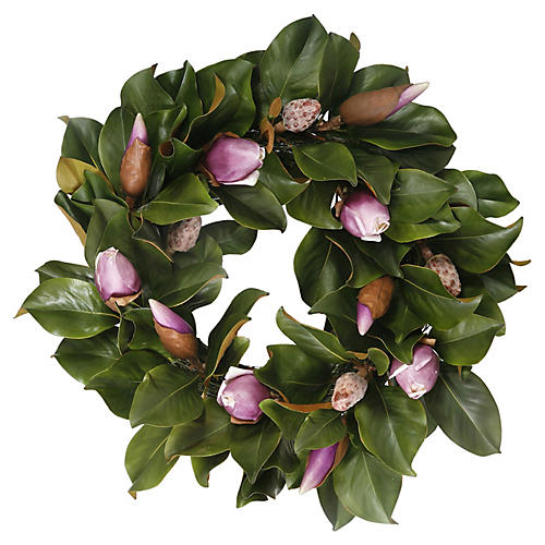 "24"" Magnolia Bud Wreath, Faux"