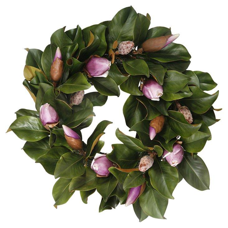 """24"""" Magnolia Bud Wreath, Faux"""