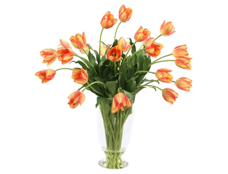 "33"" Tulips in Glass Vase, Gold/Red"