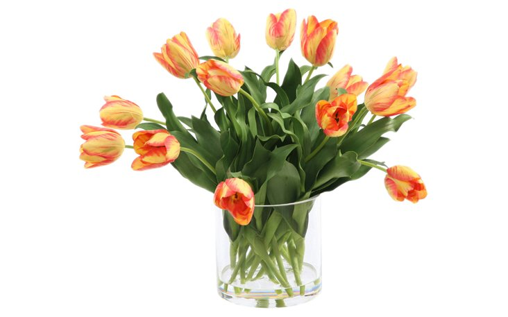 "16"" Tulips in Glass, Faux"