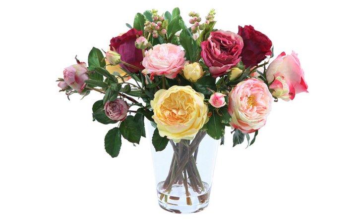 "17"" Roses in Vase, Faux"