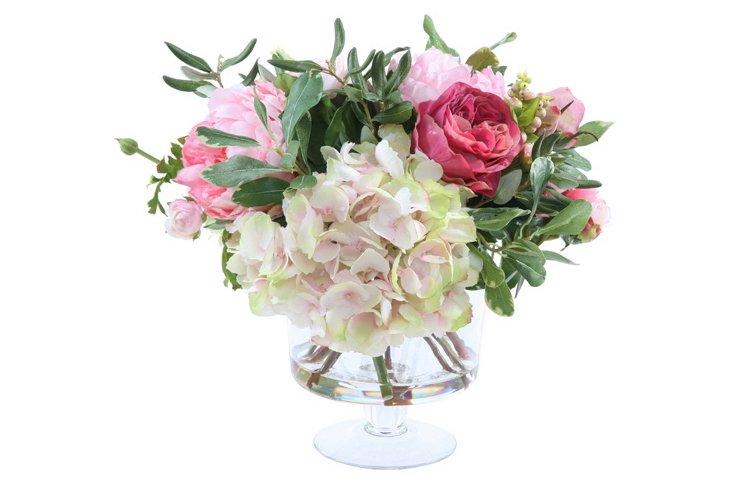 """15"""" Garden Flowers in Vase, Faux"""