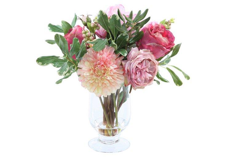 "14"" Flowers in Vase, Faux"