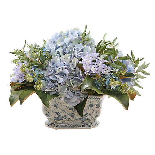 "21"" Hydrangea in Floral Planter, Faux"
