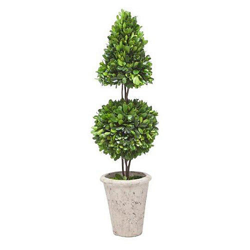 """24"""" Boxwood Coneball in Planter, Faux"""