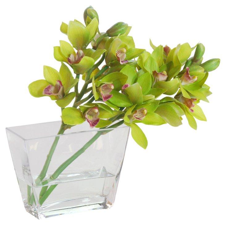 14'' Cymbidium Orchid in Vase, Faux