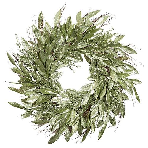 "30"" Silver Sage Wreath, Faux"