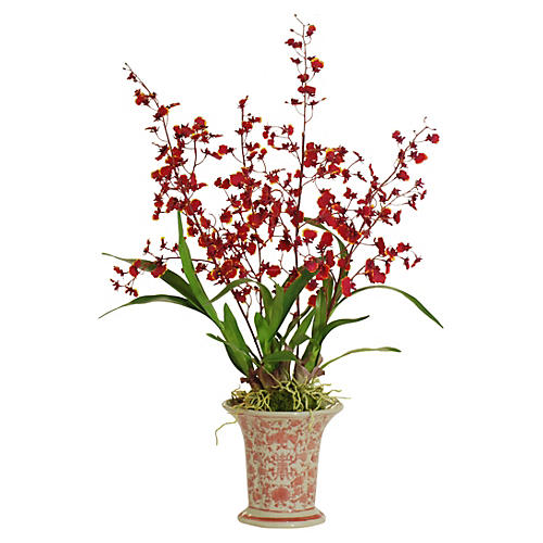 "23"" Dancing Oncidium in Vase, Faux"