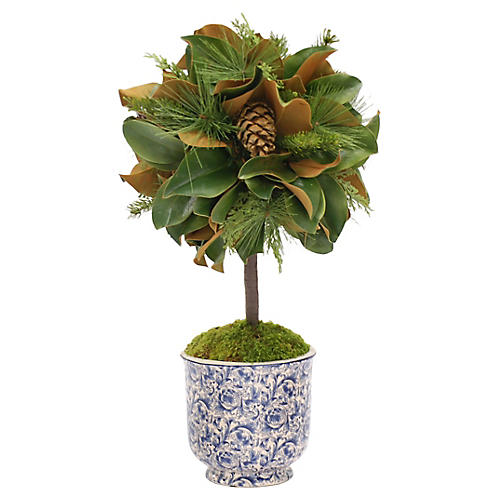 "27"" Magnolia Leaf Topiary, Faux"