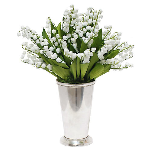 """12"""" Lily Of The Valley Arrangement, Faux"""