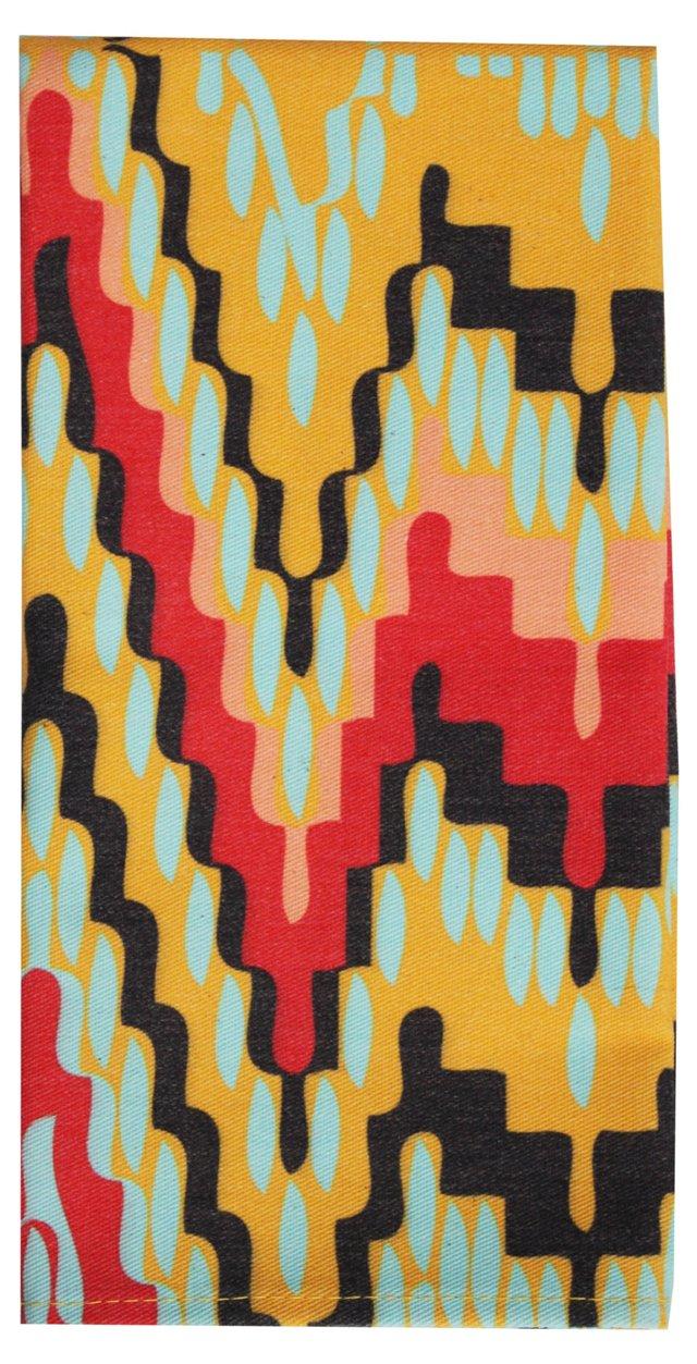 Flame Stitch Napkins, Pair