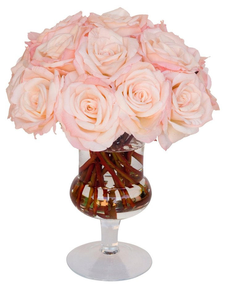 """18"""" Roses in Glass Urn, Faux"""