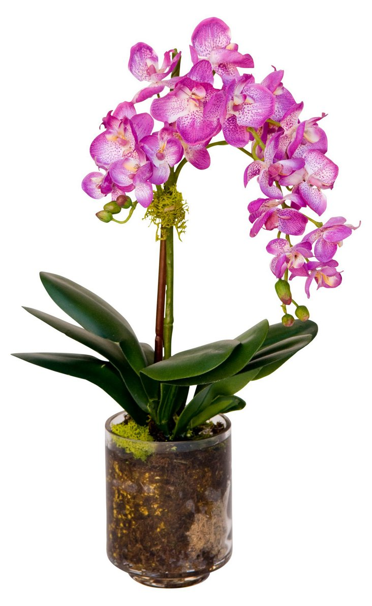 """15"""" Orchid in Planter, Faux"""