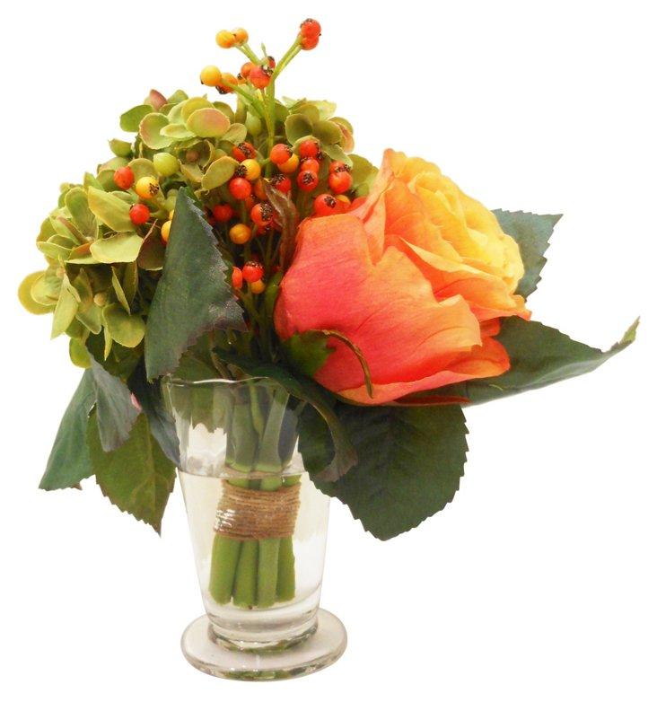 """9"""" Autumn Bundle in Vase, Faux"""