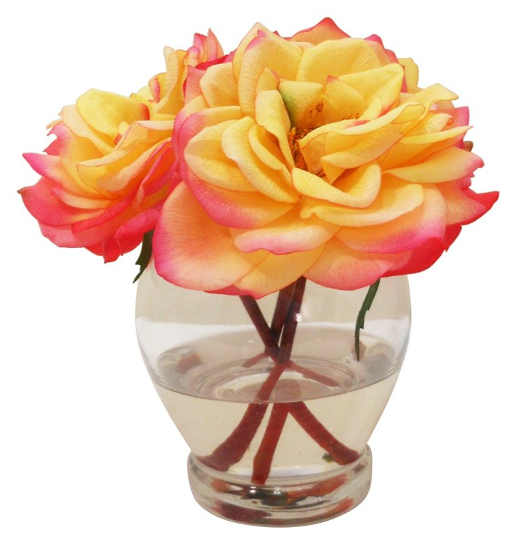 "8"" Roses in Tall Bowl, Faux"