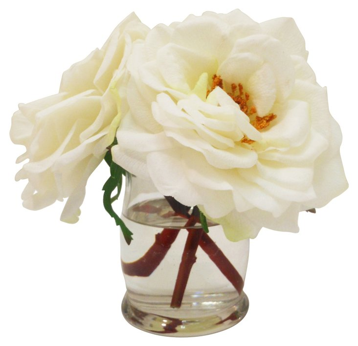 """7"""" Roses in Hourglass Vase, Faux"""