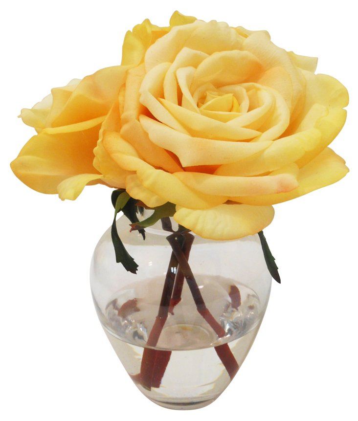 "9"" Rose in Garden Bouquet Vase, Faux"