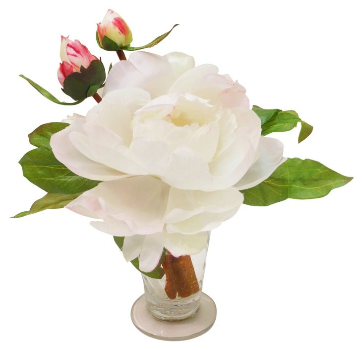 """9"""" Peonies in Parfait Glass, Champagne"""