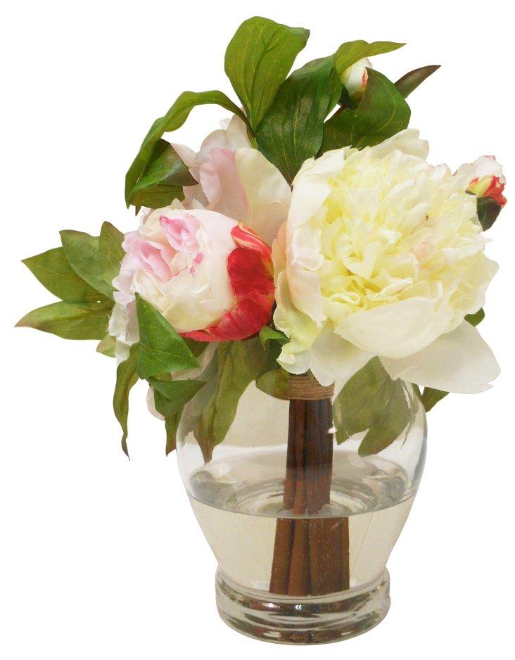 """11"""" Peonies in Vase, Faux"""