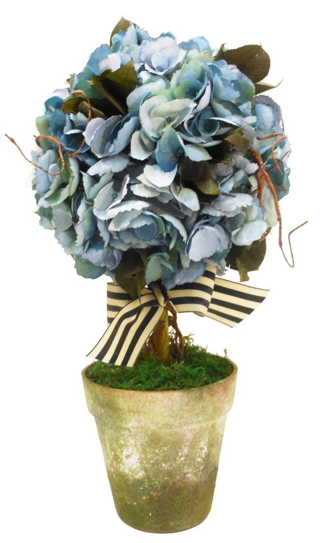 Hydrangea Topiary in Green Pot, Blue