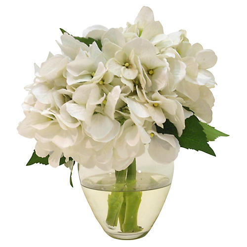 "9"" Hydrangeas in Bouquet Vase, Faux"