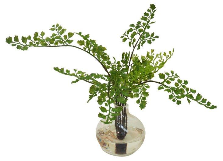 """14"""" Maidenhair Fern in Vase, Faux"""