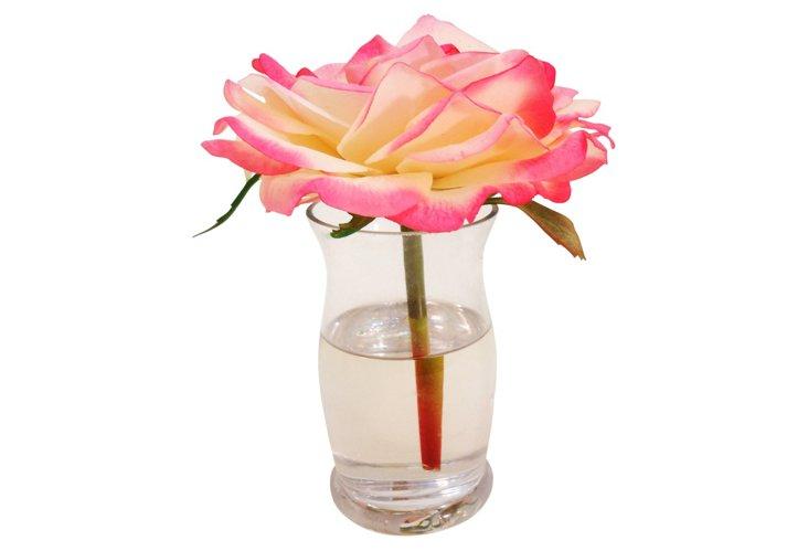 Rose in Hourglass Vase, Cream/Pink