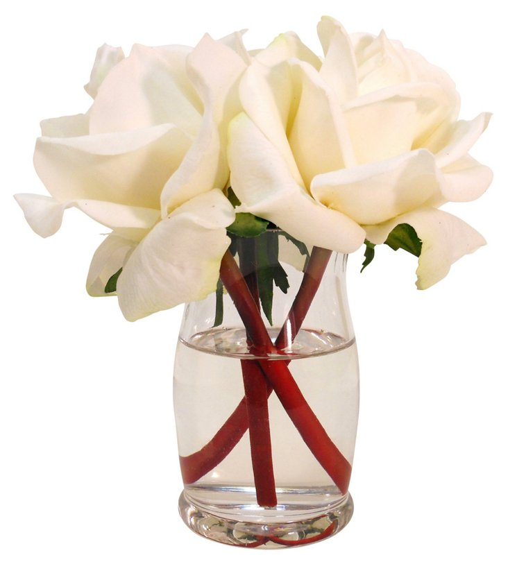 """6"""" Roses in Hourglass Vase, Faux"""
