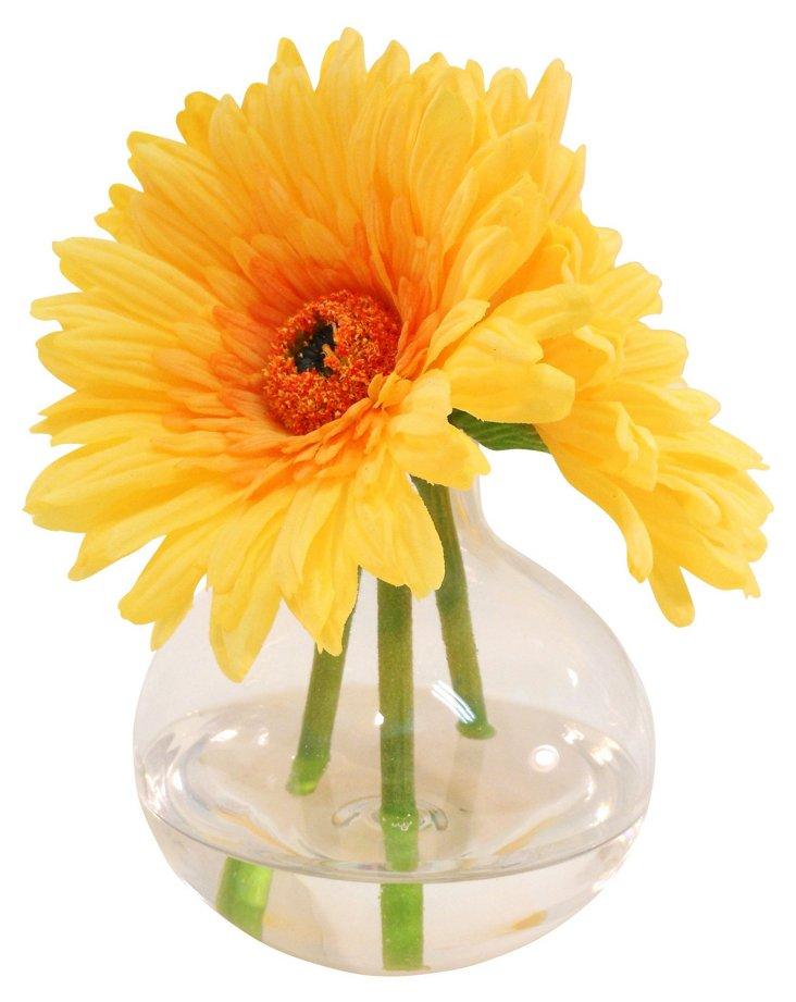 """7"""" Gerbera Daisies in Vase, Yellow"""