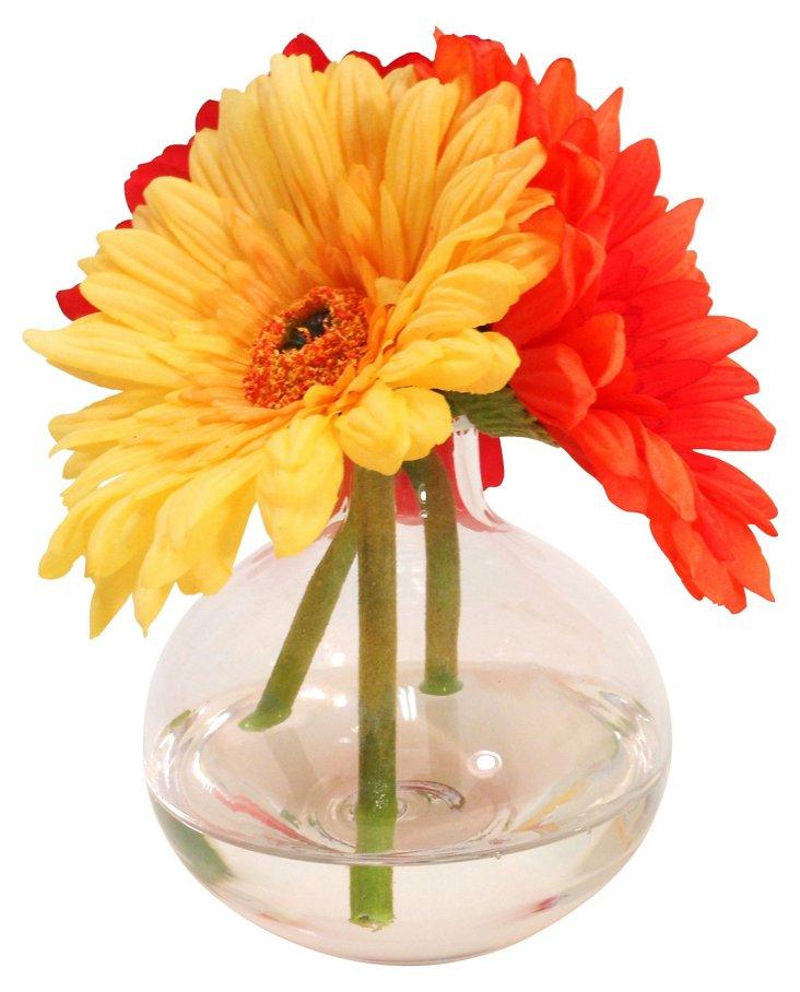 "6.5"" Gerbera Daisies in Glass Vase"
