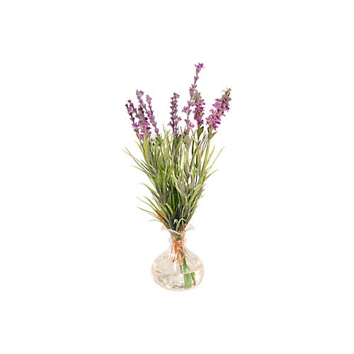 "13"" Lavender Bunch in Glass Vase, Purple"