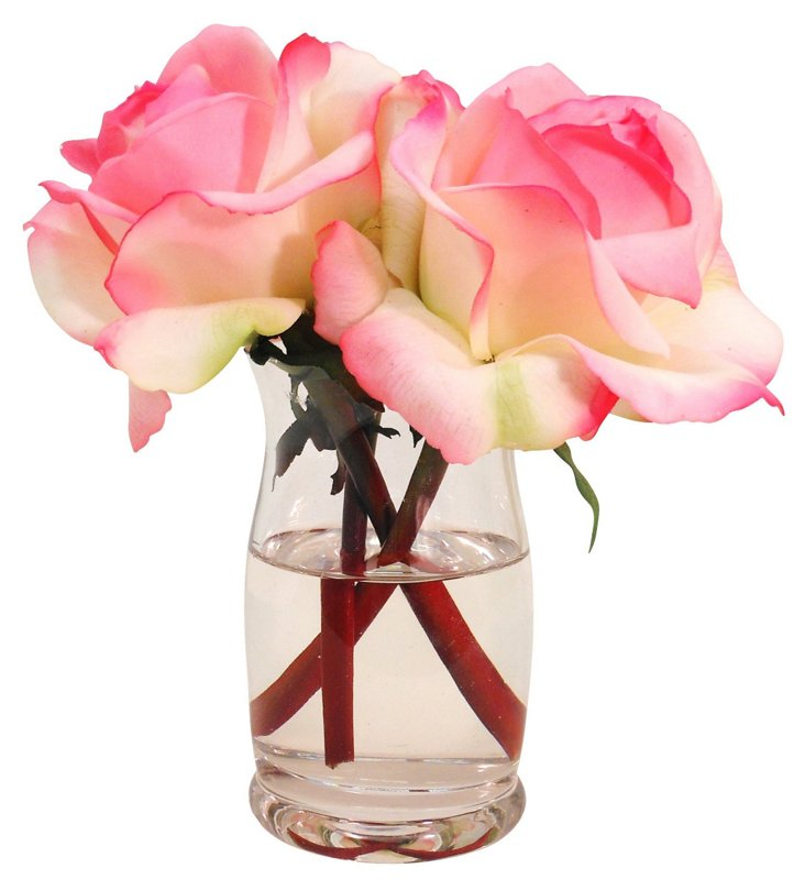"6"" Roses in Hourglass Vase, Cream/Pink"